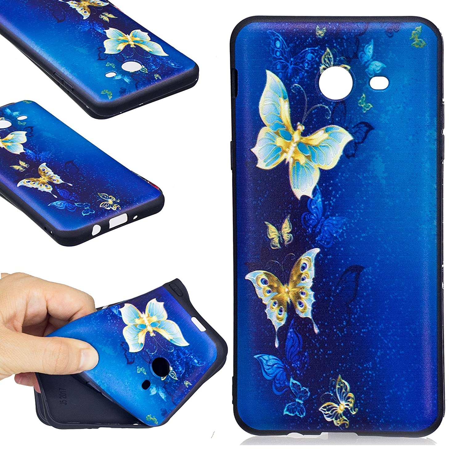 Galaxy J5 2017 Case, FIREFISH Flexible TPU Gel Silicone Embossed Printing [Anti Slip] [Scratch Resistances] Easy Grip Back Cover Shell for Samsung Galaxy J5 2017