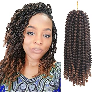 Eerya 3 Packs Mini Passion Twist Crochet Hair Extension Spring Twists Hair Kanekalon Synthetic Braiding Hair Ombre Color Short Afro Kinky Curly Hair Weave (1B/30#)