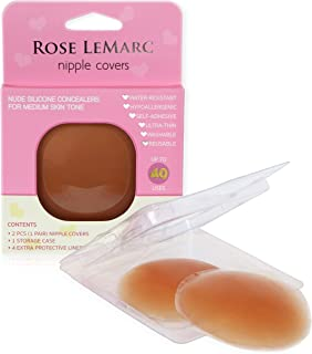 Rose LeMarc Essentials Reusable Self-Adhesive Invisible Silicone Nipple Covers for Medium Skin Tone