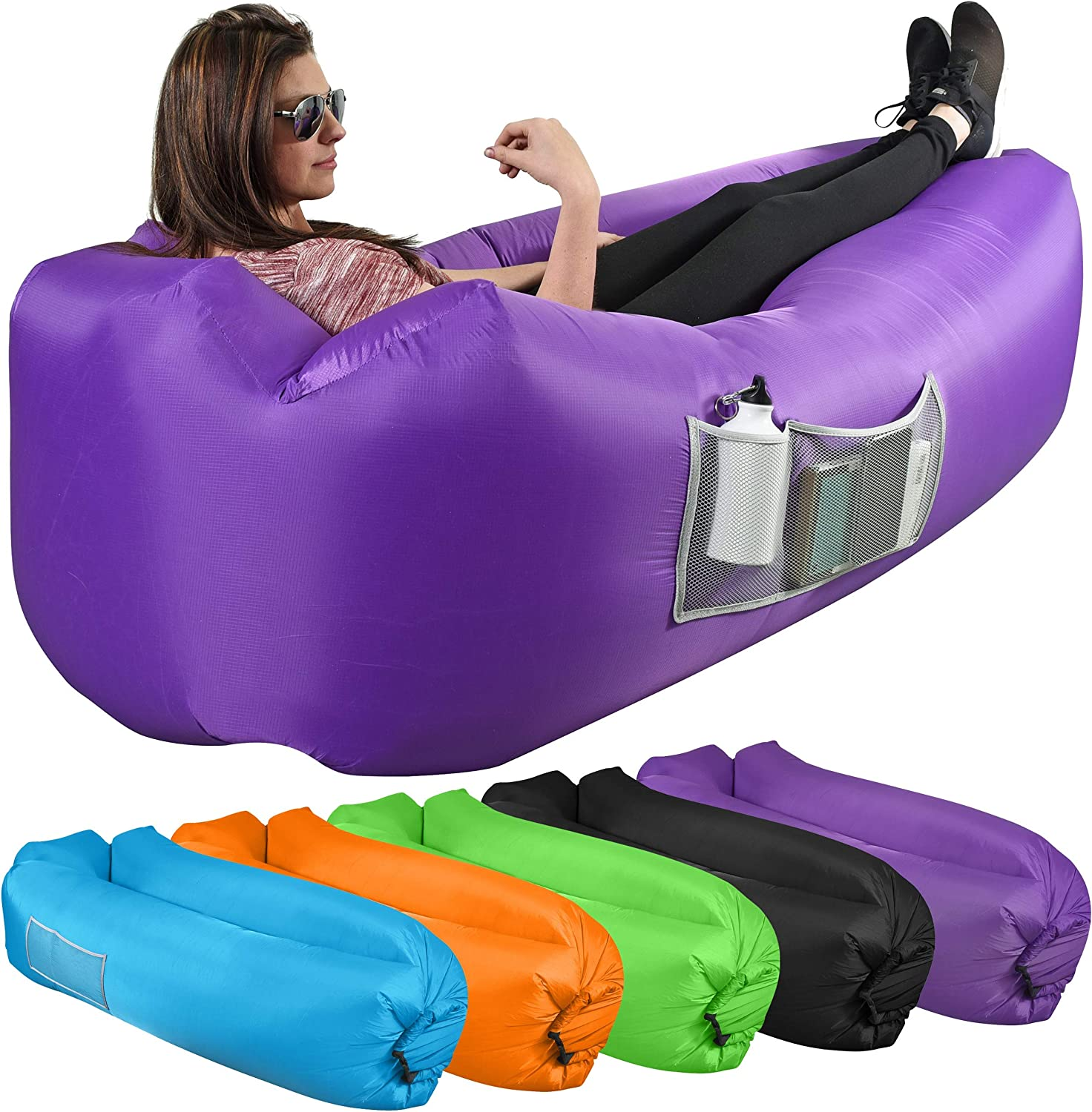 Beach Heavy Duty Nylon Fabric Outdoor Lounge Couch with Headrest Large and Small Mesh Pockets Stake KOR Outdoors Inflatable Air Lounger//Sofa with Storage Bag No-Pump Camping
