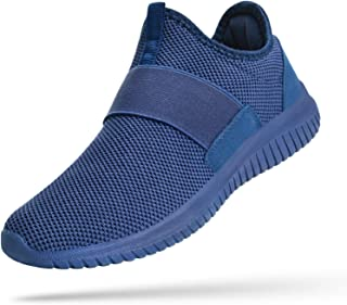 Troadlop Mens Running Tennis Shoes Knitted Breathable Walking Athletic Shoes Fashion Sneakers, Blue, 8