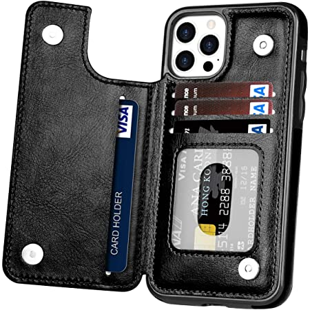 Slim Fit Wallet Card Slots Shockproof Folio Flip Protective Shell Compatible with iPhone 12 Pro Max 6.7 inch Hoofur Phone Case Replacement for iPhone 12 Pro Max 2020 Black