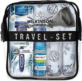 Wilkinson Sword Set de Viaje con Máquina de Afeitar Recargable de 5 Hojas + Protector de Viaje + Espuma de Afeitado Protec...