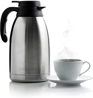 Cresimo 68 Oz Stainless Steel Thermal Coffee Carafe / Double Walled Vacuum Flask / 12 Hour Heat...