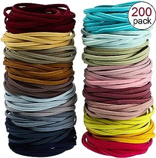 200 Pieces Seamless Hair Bands Elastic Hair Rope Ponytail Hair Ties Flat Design (Multicolor)