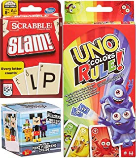 AYB Double Pack Slam Card Game Triple Pack Uno Colors Rue! + Scrabble Cards with Blind Box Mystery Figure Disney Mini Crossy Roads Character