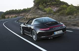 Porsche 911 (991) Targa 4S (2014) Car Art Poster Print on 10 mil Archival Satin Paper Black Rear Side Motion View 24