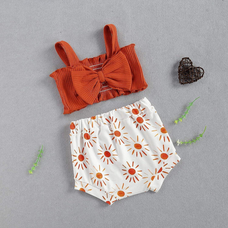 Infant Baby Girl Summer Outfits Ribbed Sleeveless Crop Top Shirt Bow Halter Top Rainbow Shorts 2Pcs Clothes Set
