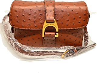 Dooney and Bourke Kyra Ostrich Emb Leather Crossbody Cognac