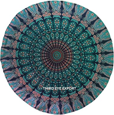 Third Eye Export - 32 in Blue Mandala Barmeri Large Round Floor Pillow Cover Cushion Meditation Seating Ottoman Throw Cover H