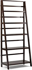 Simpli Home Acadian Solid Wood 72 inch x 30 inch Rustic Bookcase in Tobacco Brown