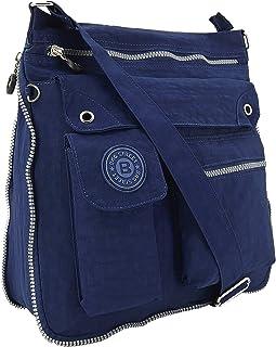 ekavale - leichte Damen-Umhängetasche - Praktische Crossbody-Handtasche - mit vielen fächern - Schultertasche wasserabweis...