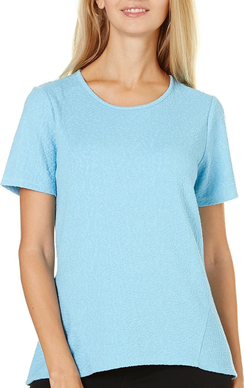 Kensie HighLow Textured Top, bluee, Small