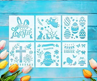 GSS Designs Pack of 6 Stencils Set (6x6 Inch) Cookie Stencil Happy Easter Stencil for DIY Craft Scrapbooking Cards Making Stencils Set (SL-019)