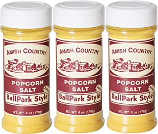 Amish Country Popcorn - 3 Pack Ballpark ButterSalt (6 Ounce) Old Fashioned Goodness With Recipe Guide