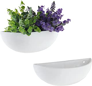 MyGift 12-Inch Ceramic Half-Moon Wall Mounted Flower Planter Vase, Set of 2