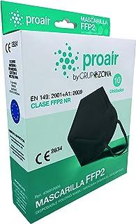 Caja 10 Mascarillas FFP2 homologadas CE 2834, color Negro, filtrado de 5 capas - ProAir - Mascarilla protección respiratoria