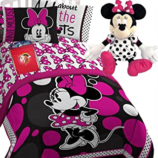 Disney Minnie Mouse Girls Pink and Black Polka DOTS Twin/Full Comforter(71