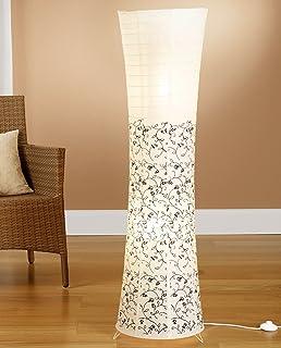 Trango Lampadaire design moderne I lampe en papier de riz en blanc rond avec motif floral TG1240-026B lampadaire, 125cm de...