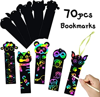MALLMALL6 70Pcs Animal Scratch Bookmarks Rainbow Scratch Art Safari Farm Zoo Animals DIY Hang Tags Party Favors Jungle Theme Birthday Party Classroom School Supplies Decorations Crafts Kit for Kids