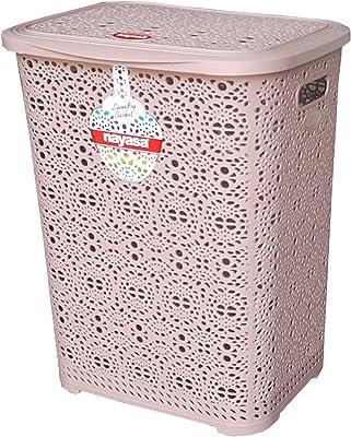 Nayasa Flower Piece Plastic Laundry Basket, Khaki
