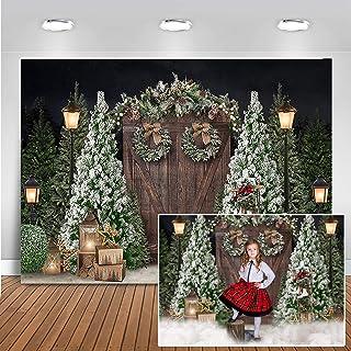 Mocsicka Weihnachtstür Hintergrund mit Tannenbäumen und weißem Schnee, Fotografie Hintergrund, Nachtszene, Portrait, Fotoshooting Requisiten (213,4 x 152,4 cm)