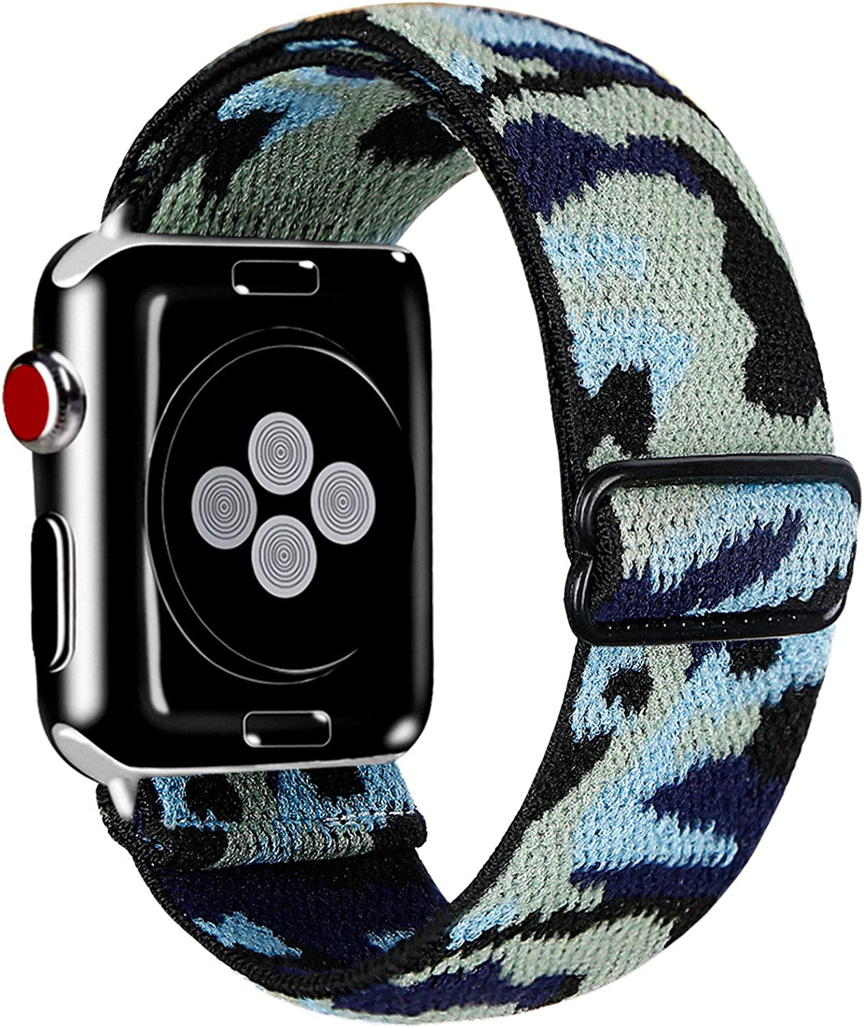 Kraftychix Adjustable Elastic Watch Band Compatible with Apple Watch 38mm/40mm/42mm/44mm,Soft Stretch Bracelet Women Strap Replacement Wristband for Iwatch Series SE/7/6/5/4/3/2/1