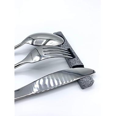 Utensil Rest/Serving for 4 with Utensil Rest Holder Included, Silverware Rest for Spoon, Fork, Knife, Kitchen Utensil Holder. (Dark Granite)