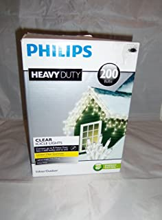 Philips Heavy Duty 200ct. Icicle String Lights - Clear Bulbs White Wire