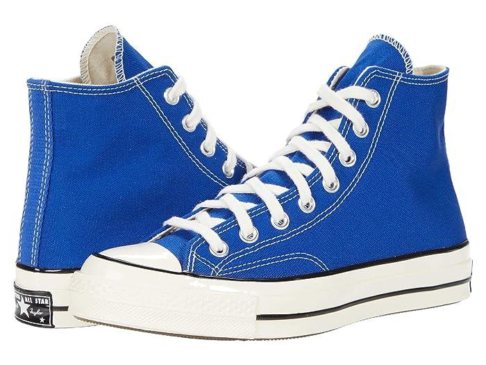 Mens Vintage Shoes, Boots | Retro Shoes & Boots Converse Chuck 70 Organic Canvas Hi Rush BlueEgretBlack Athletic Shoes $84.95 AT vintagedancer.com