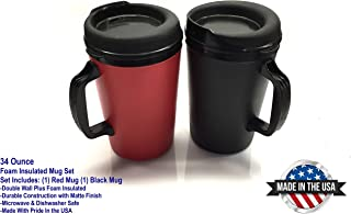 GAMA Electronics 2 ThermoServ Foam Insulated Coffee Mugs 34 oz (1) Black & (1) Red