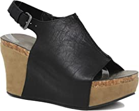 MVE Shoes Women's Stylish Cushioned Open Toe Adjustable Strap Platformed Wedge Sandal
