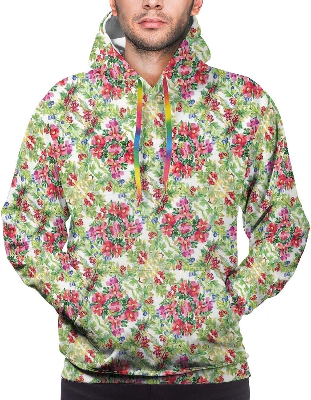 Men's Hoodies Sweatshirts,Pastoral Idyllic Greenery with Lily Bouquet Flowering Field Meadow Watercolor Effect