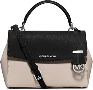 MICHAEL MICHAEL KORS Ava Small Saffiano Leather Top Handle Crossbody Satchel Cement/Black