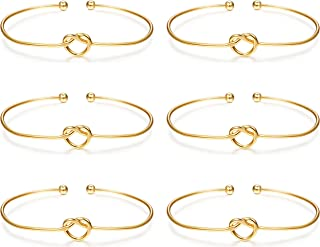 LOLIAS 6 Pcs Love Knot Bangle Bracelets Simple Cuffs Bridesmaid Bracelets for Women Girls Stretch Bracelets