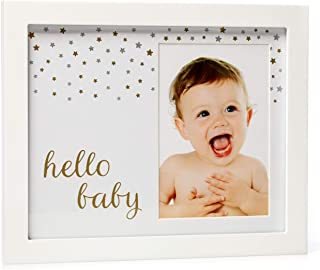 1Dino Hello Baby Keepsake 8x10 Picture Frame - White Wood Baby Photo Frame -The Perfect Shower Gift for Boys and Girls and a Forever Registry Memory, Wall or Desk Nursery Decor