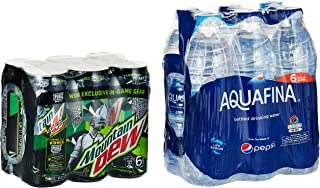Mountain Dew Carbonated Can Soft Drink, 6 x 330 ml + Aquafina, 6 x 500 ml