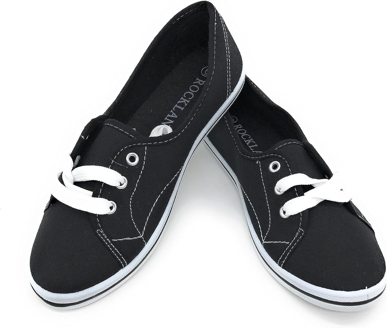 Women Canvas Lace Up Falts Ballet shoes (9 B(M) US, Black)