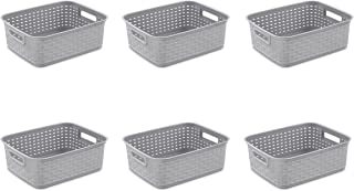 Sterilite 12726A06 Short Weave Basket, Cement, 6-Pack