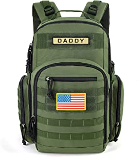 ESPIDOO Diaper Bag Backpack for Dad, Military Backpack with Molle System, Large Travel Baby Bag Backpack for Men, Green