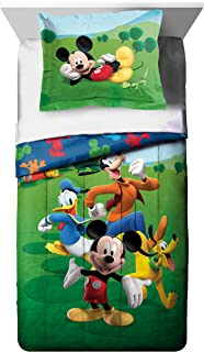 Disney Mickey Mouse Club House Adventure Twin Comforter - Super Soft Kids Reversible Bedding features Mickey Mouse and Friends - Fade Resistant, Includes 1 Bonus Sham (Official Disney Product)