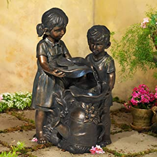"""John Timberland Boy and Girl Outdoor Floor Water Fountain with Light LED 23"""" High Sculpture for Yard Garden Patio Deck Home"""
