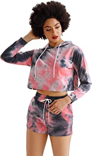 Women's Two Piece Workout Outfits Sets Tie Dye Crop Top Hoodie Sweat Shorts Sets Tracksuit