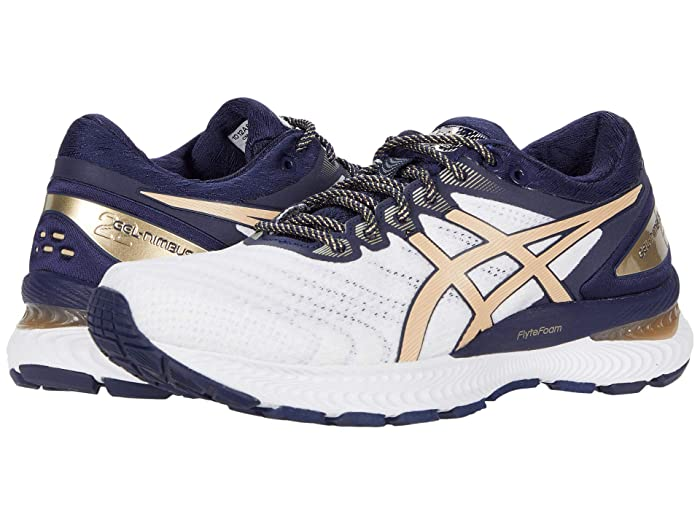 ASICS  GEL-Nimbus 22 (White/Champagne) Womens Running Shoes