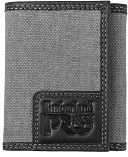 Timberland PRO Men's Canvas Leather RFID Trifold Wallet with Zippered Pocket, charcoal, One Size