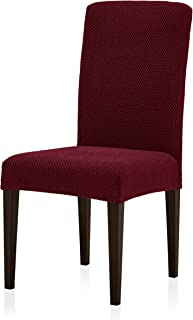 subrtex Jacquard Dining Room Chair Slipcovers Sets Stretch Furniture Protector Covers for Armchair Removable Washable Elastic Parsons Seat Case for Restaurant Hotel Ceremony (4, Wine)