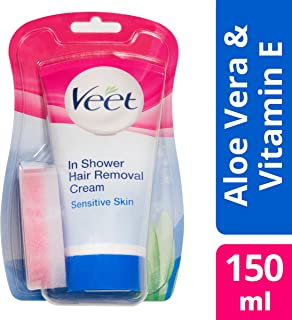 Veet In Shower Hair Removal Cream Sensitive Skin with Aloe Vera & Vitamin E (150ml)