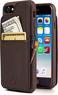 iPhone 7/8 Wallet Case, Vaultskin Eton Armour for iPhone 7/8 (4.7) Slim Minimalist Bumper Case for Cards and Cash, Genuine Leather - Holds up to 10 Cards (iPhone 7/8, Brown)