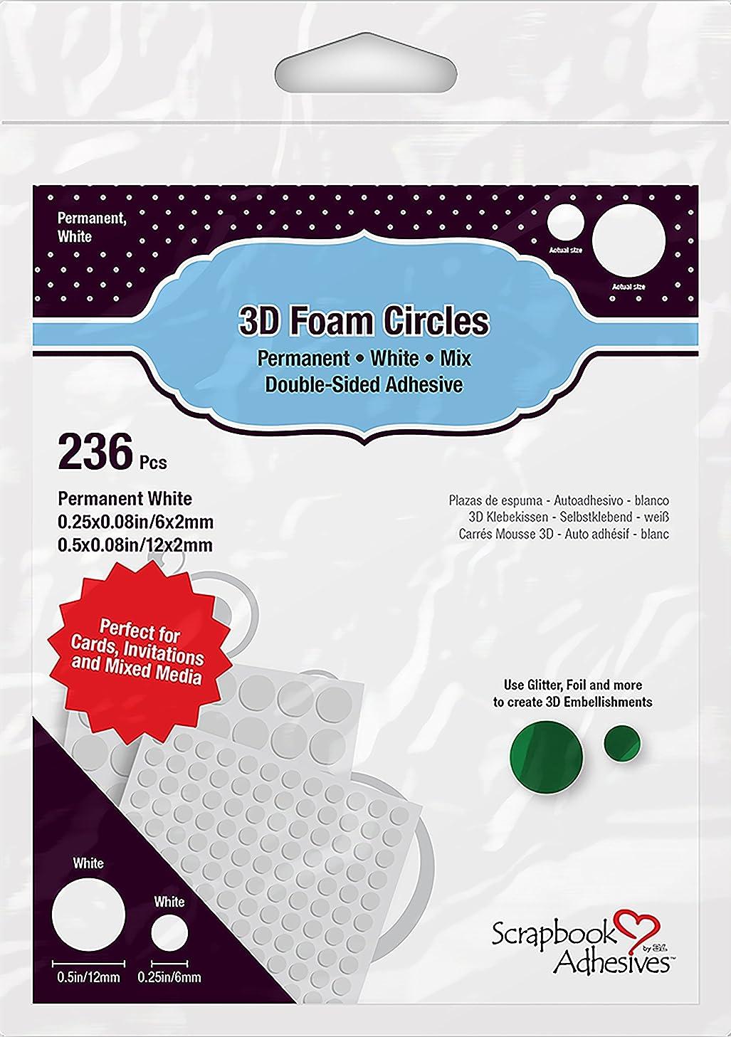 3L 1226 3D Foam Circles Scrapbook Adhesives, Multicolor