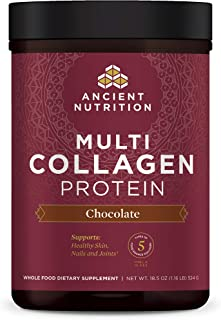 Ancient Nutrition Multi Collagen Protein Powder, Chocolate Flavor, 5 Types of Food Sourced Collagen, Supports Joints, Skin and Nails, Made Without Dairy or Gluten, 18.5oz